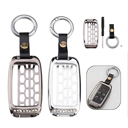 MASUNN Remote Key Case Shell Houder Aluminium Voor Auto Sleutel Met Sleutelhanger, Titanium, 1
