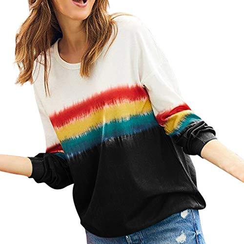 Dasongff dames sweatshirts lange mouwen ronde hals tuniek blouse batik t-shirt trui tops lange mouwen shirt losse blouse oversize sweatshirt
