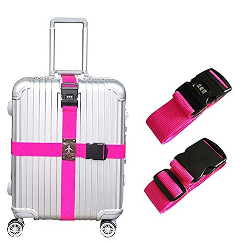 Adjustable Cross Luggage Strap Suitcase Belts, Luggage Straps Suitcase Belts Travel Accessories Bag Straps (Rose Red)