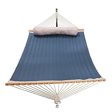 Patio Watcher 11 Feet Quilted Fabric Hammock Pillow, Double Hammock Bamboo Wood Spreader Bars, Perfect Outdoor Patio Yard, Dark Blue