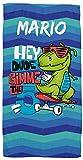 Toallas de Playa o Ducha Personalizadas con Nombre o Frases. Toallas Infantiles para niño y niña (Unisex). Regalo Infantil Original para baño, Piscina, Playa, Camping.(Dinosaurio Skate)