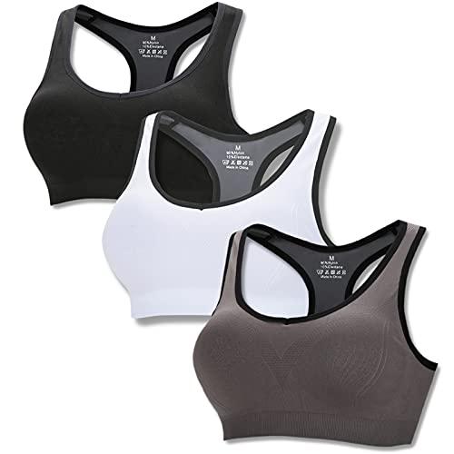 Sujetador Deportivo para Mujer Almohadillas Extraíbles Sin Aros Alto Impacto Racerback Gimnasio Yoga Running Salud, Negro+Gris+Blanco-M