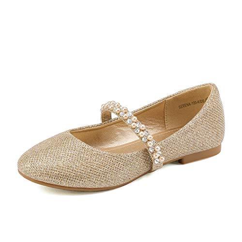 DREAM PAIRS Toddler Serena-100-Gold Glitter Girl's Mary Jane Ballerina Flat Shoes - 10 M US Toddler