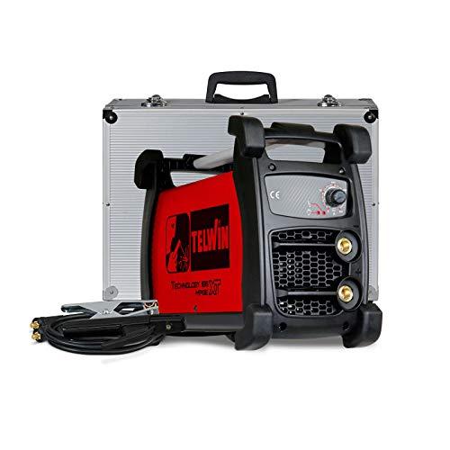 TELWIN Technology 186 XT MPGE MMA e WIG - Saldatrice inverter con custodia robusta e accessori per elettrodi, set di collegamento per cavi di massa