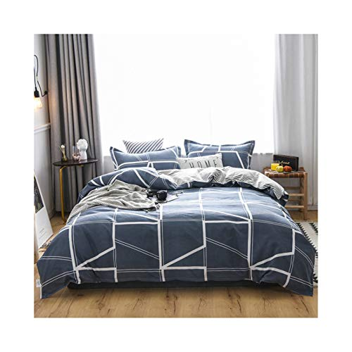 AMDXD Polyester Bedding Set of 4, Dark Blue Geometry Quilt Cover, Bed Sheet and Pillowcase (1Pcs Quilt Cover 200x230cm, 1Pcs Bed Sheet 230x230cm, 2Pcs Pillowcase 48x74cm)