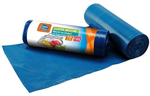 RAVI Müllbeutel, 140L, 10 Stück, blau, Säcke aus LDPE-Folie, Schwerlast Beutel, reißfeste Abfallsäcke, Müllsäcke für Küche, Garage