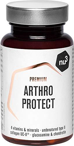 nu3 Premium Arthro Protect – 60 cápsulas con glucosamina – Suplemento para las articulaciones con condroitina y vitamina C – Protección para huesos, uñas, cabello & cartílagos – Con colágeno UC-II