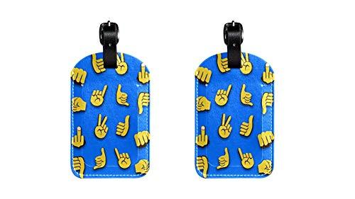 2 Piezas Emojis Etiquetas de Equipaje de Cuero de PU Etiquetas de Equipaje para niños de de Equipaje para Hombres de diseño