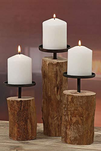 """3er-Set Kerzenleuchter Kerzenständer \""""Tempe\"""" Holz - H14/18,5/23,5cm"""