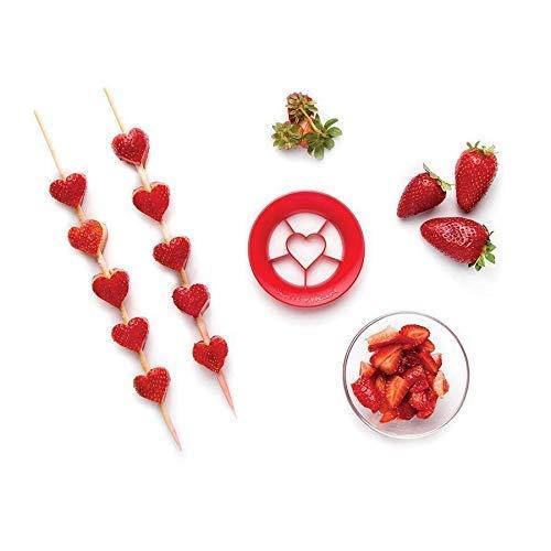 PELEG DESIGN Sweet Heart, Heart Shaped Strawberry Cutter, Strawberry Slicer Fruit Cutter, Unique Kitchen Gadgets Kitchen Tools, Red