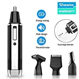 Nose Hair Trimmer 2019 Professional Painless Ear and Nose Hair Trimmer for Men with USB Charging 4 in 1 Waterproof Blade Wet and Dry (Black)