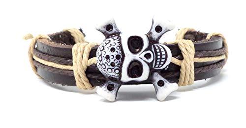 Evil Wear Armband Herren Damen Leder-Armbänder Handmade - Totenkopf weiss