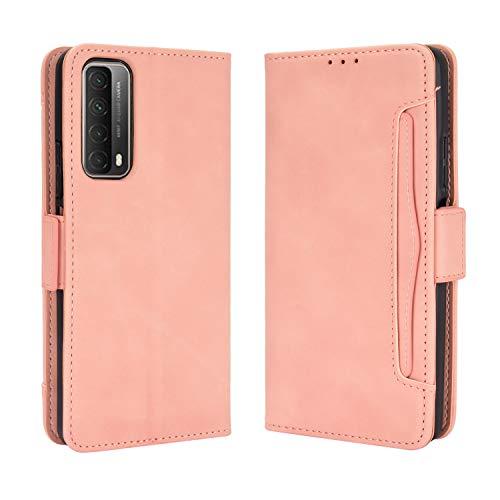 Lederhülle für Huawei Y7a/P smart 2021 Hülle, Flip Hülle Schutzhülle Handy mit Kartenfach Stand & Magnet Funktion als Brieftasche, Tasche Cover Etui Handyhülle für Huawei Y7a/P smart 2021, Rosa