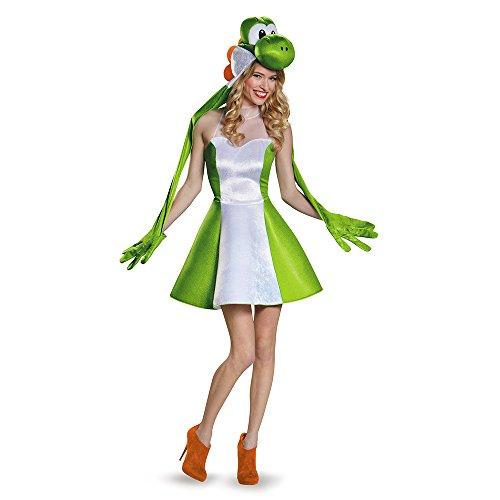 Yoshi Female Version Costume, Green, Junior (7-9)
