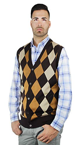 Blue Ocean Argyle Button-Down Sweater Vest-X-Large