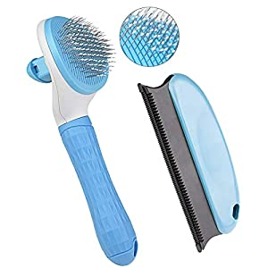 Aumuca Cat Brush and Dog Brush, Cat Brush for Shedding and Grooming with Long or Short Hair Self Cleaning Slicker Brush