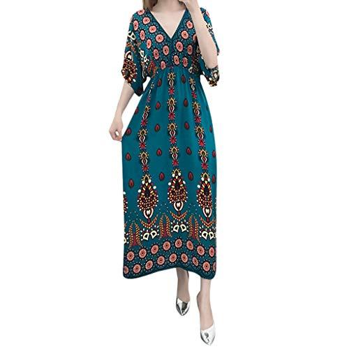 SHINEHUA Maxi Kleid Damen Strandkleider Casual Sommerkleid Kurzarm Lange Kleid Boho Kaftan Tunika...