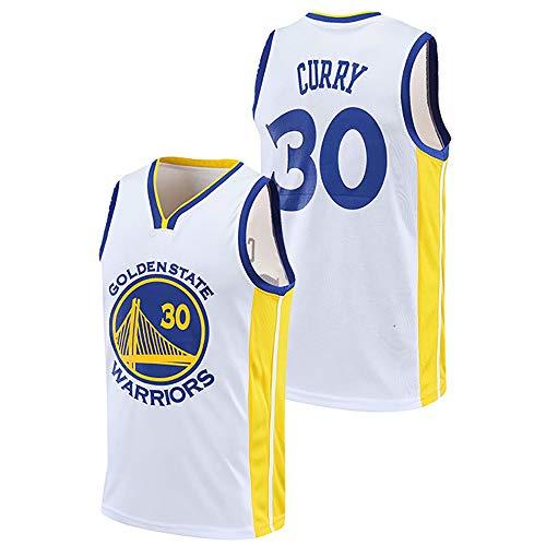 Camiseta De Baloncesto para Hombre, Golden State Warriors # 30 Stephen Curry Swingman Jerseys, Uniforme De Baloncesto Chaleco Deportivo Sin Mangas Tops Camiseta,Blanco,L