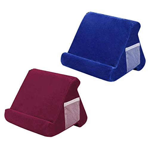 CUTICATE Multi Angle Tablet Stand Pillow Holder Book Rest Support for Red+Blue