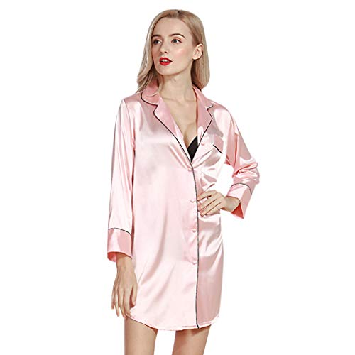 ZOTTOM Damen Simulation Seide Sexy Nachthemd Seide Button Shirt Pyjama Top Mini Nachthemd(Rosa,Medium