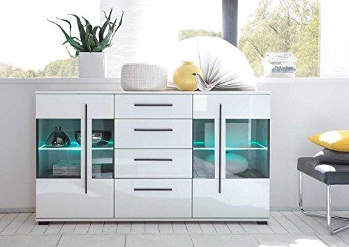 lifestyle4living Sideboard in weiß mit Hochglanz Tiefziefronten und Grauglas, 2 Türen, 4 Schubkästen, Maße: B/H/T ca. 150/86/42 cm