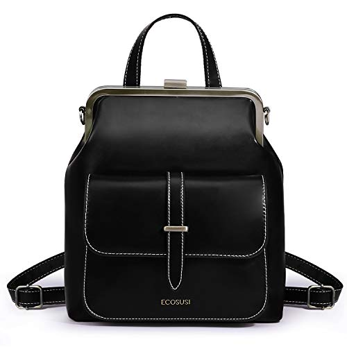 ECOSUSI Small Backpack Purse PU Leather Mini Backpack Travel Casual Ladies Shoulder Bag