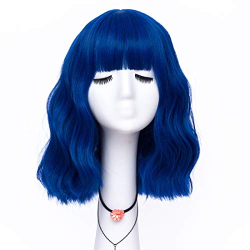 Labeauté Short Bob Wavy Wig with Air Bangs for Women, Heat Resistance Shoulder Length Curled Wigs for Daily Use, Cosplay and Theme Parties- 14inch, Blue