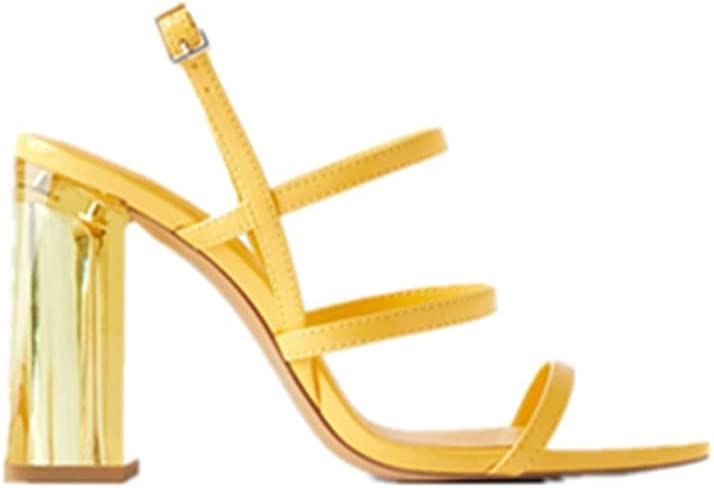 Ladies Roman Style Sexy Stilettos Nude Strap Open Toe Halter Sandals Party Dinner Shoes High Heels Non-Slip Rubber Soles (Color : Yellow, Size : 35EU)