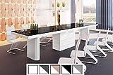 Design Esstisch Tisch HE-444 Schwarz/Weiß Hochglanz XXL ausziehbar 160 bis 412 cm
