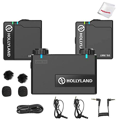 Hollyland Lark 150 Wireless Microphone System with Charging Case, Omnidirectional Polar Pattern, 2.4G Digital Wireless Transmission, Built-in Mic & Lav Mic for Vlogging Interview(RX+TX+TX)