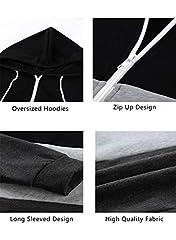 Aleumdr Ladies Long Sleeve Black Colorblock Zip-Up Hoodie Jacket Sweatshirt with Pockets Womens Oversized Baggy Comfy Hooded Coat Tunics UK Size 16 18 #4