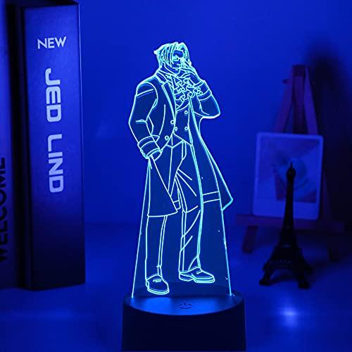 Anime as Abogado Miles edgeworth LED noche luz para dormitorio decoración regalo cumpleaños noche lámpara millas edgeworth luz Gadget 7 colores sin control remoto