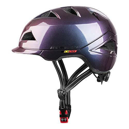 SUNRIMOON Casco de bicicleta para adultos con luz USB recargable, casco urbano...