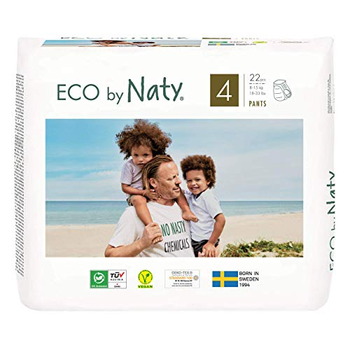 Eco by Naty Höschenwindeln, Größe 4, 22 Windeln, 8–15kg, Premium-Bio‑Höschenwindeln aus pflanzenbasiertem Materialien. Frei von gefährlichen Chemikalien
