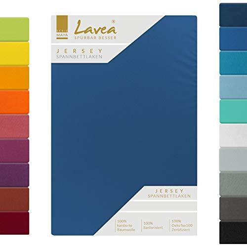 Lavea Jersey Spannbettlaken, Spannbetttuch, Serie Maya, 90x200cm   100x200cm, Royalblau, 100% Baumwolle, hochwertige Verarbeitung, mit Gummizug