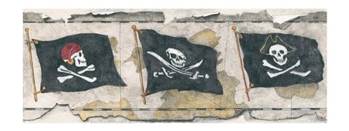 York Wallcoverings BT2810B Pirates Flag Border, Linen Sand/Charcoal Black/Off White/Rustic Red
