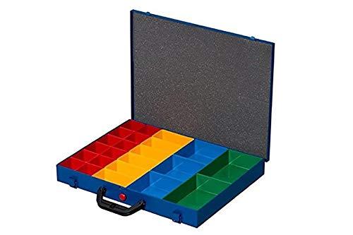 NORDEC Sortimentskasten aus Metall mit Einsatz 23 Kunststoff-Fächer
