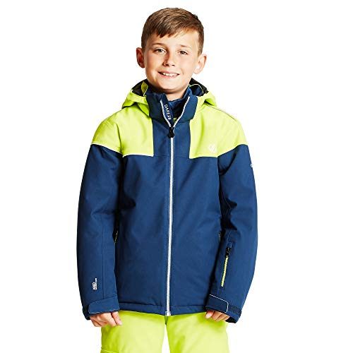 Dare 2b Unisex Kinder Entail Waterproof Breathable High Loft Insulated Foldaway Hooded Ski Snowboard Jacket with Snowskirt and Reflective Detail Jacke, Admiral Blau/Citron Limette, 15-16