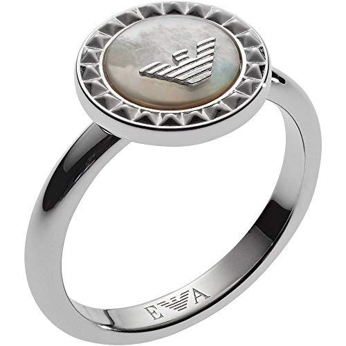 Emporio Armani Damen-Ringe 925 Sterlingsilber mit Rund Perlmutt '- Ringgröße 50 EG3351040-5.5