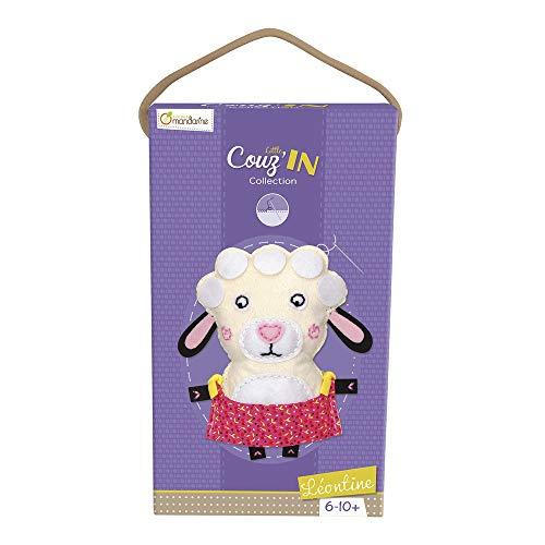 Avenue Mandarine 52653O - Une boite Little Couz'in comprenant une figurine en feutrine à coudre 16x5x26 cm, fil et aiguille, Léontine le mouton