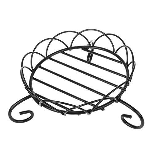 Baiyao Soporte de hierro negro para macetas, soporte de maceta de metal corto para maceta de jardín para interior