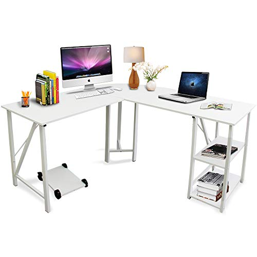 Bizzoelife 59'x55' Large L-Shaped Corner Computer Desk, Modern Home Office PC Laptop Gaming Table with CPU Stand and Bookshelf, Wood & Metal Teens Writing Study Workstation for Space-Saving (White)
