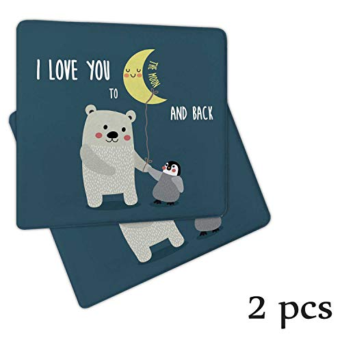 Atokker I Love You,Chair Cushions Wheelchair Cushion and Penguin Best Arctic Lovers Under Moon Cartoon Gliding Chair 2 Pack