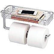 mDesign Toilet Tissue Paper Holder and Multi-Purpose Shelf - Wall Mount Storage Organizer for Bathroom, Holds 2 Mega Rolls - Durable Metal Wire Design - Chrome