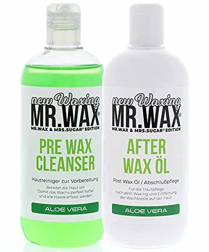 Mr. Wax Set Pre Wax Hautreiniger und After Wax Öl Aloe Vera Nachbehandlung, 2x 500ml