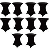 """HAORUI 10pcs Stretch Cocktail Tablecloth 30' Spandex DJ Table Cover for Craft Exhibitions Wedding Party Show (30"""" Black)"""