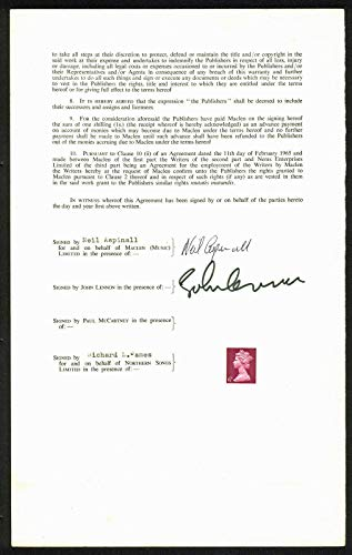 John Lennon & Neil Aspinall signed 1968 publishing contract