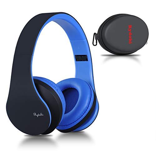 Bluetooth Over Ear Kopfh?rer, Rydohi Wireless Stereo Headset Klappbares Kopfh?rer mit Integriertem Mikrofon/FM Radio /MP3 Player f¨¹r iPhone, Android, PC -Schwarz Blau