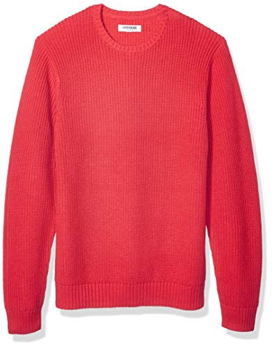 Amazon Brand - Goodthreads Men's Soft Cotton Rib Stitch Crewneck Sweater, Red Large