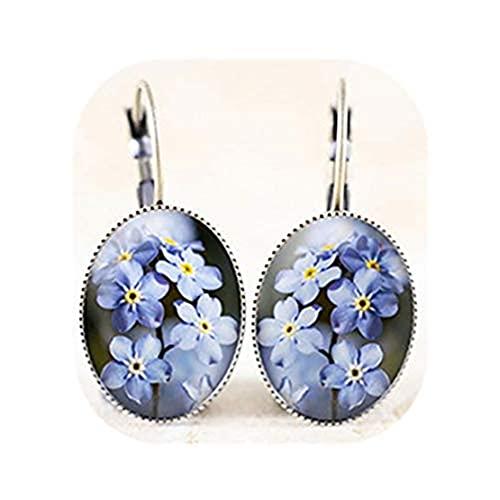 Youkeshan Pendientes Forget-Me-Not - Pendientes de flor azul, pendientes de joyería del bosque, joyas con flores de bosque